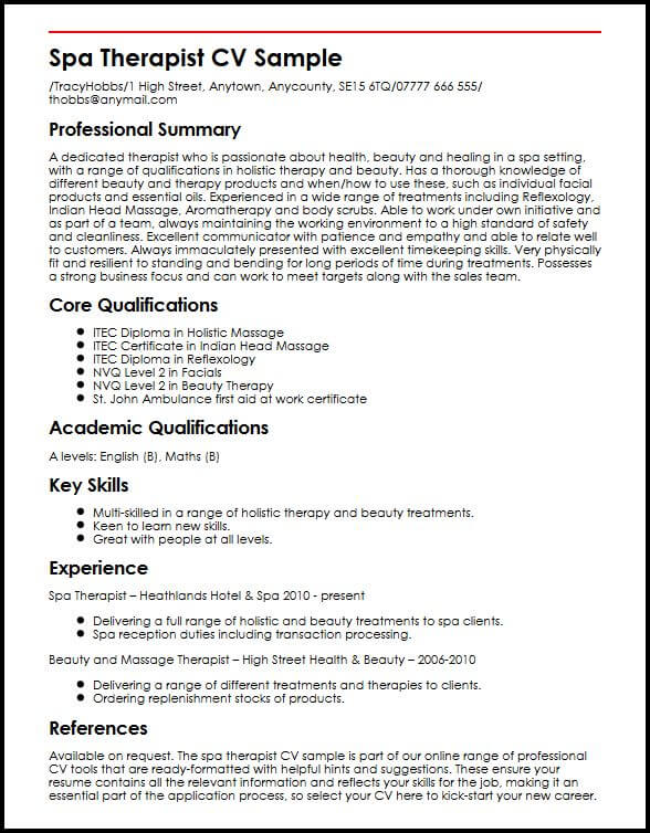 spa therapist cv example myperfectcv cosmetology resume sample lms administrator examples Resume Cosmetology Resume Sample