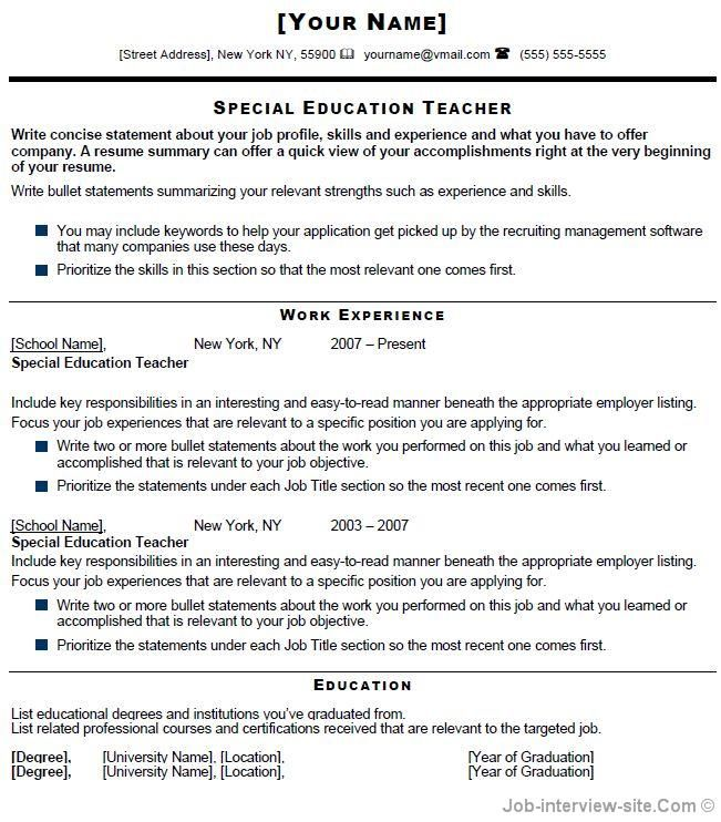 special education teacher resume free templates examples responsibilities fine dining Resume Special Education Teacher Responsibilities Resume