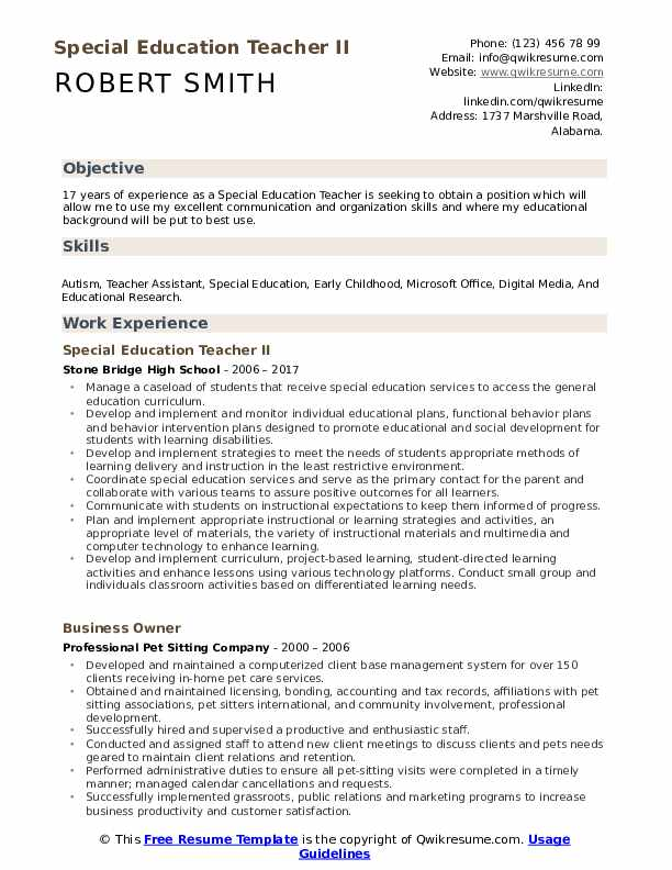 special education teacher resume samples qwikresume template pdf college admission Resume Special Education Teacher Resume Template