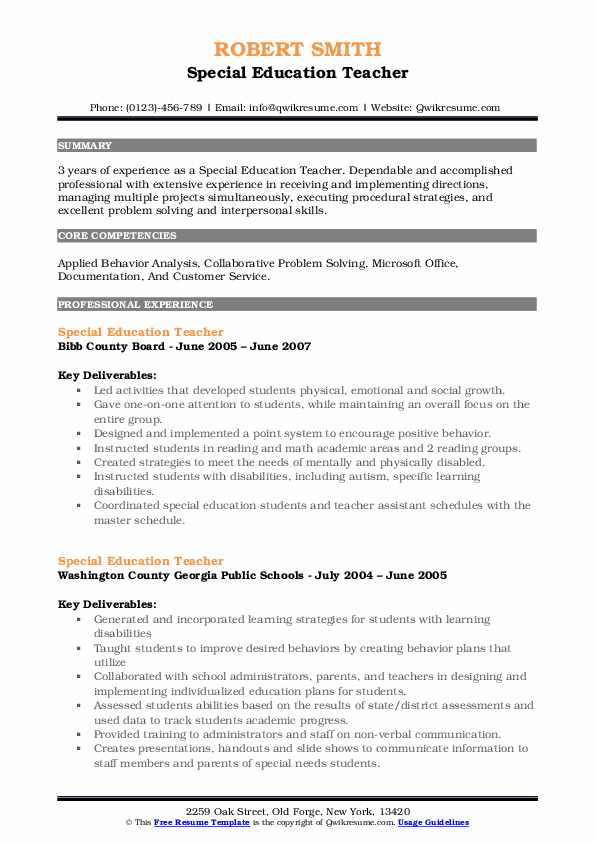 special education teacher resume samples qwikresume template pdf format for food and Resume Special Education Teacher Resume Template