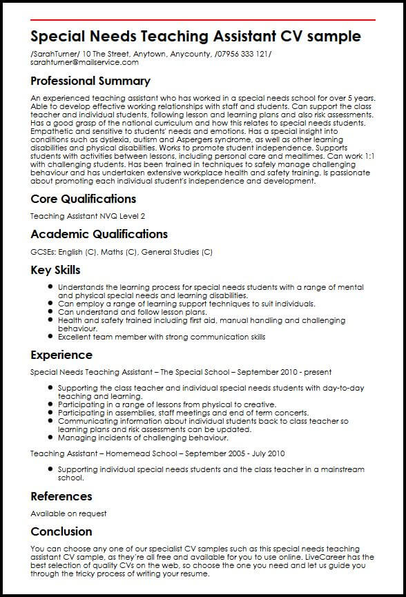 special needs teaching assistant cv example myperfectcv education teacher Resume Special Education Teacher Responsibilities Resume