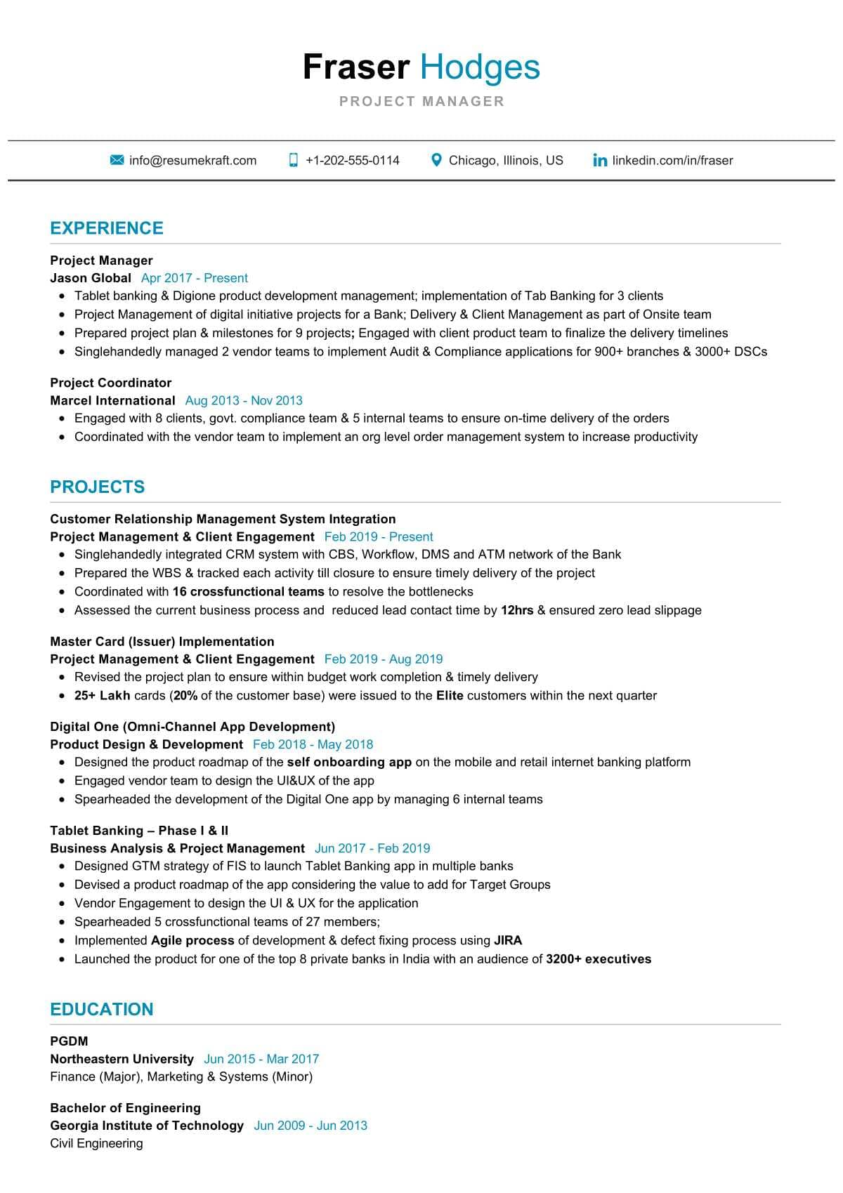 sr project manager resume example resumekraft examples leed ap builder intern Resume Project Manager Resume Examples 2018