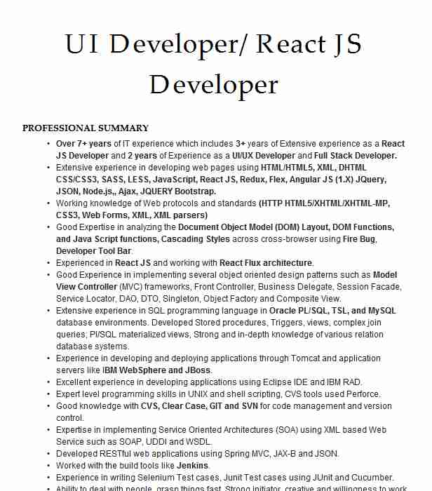 sr react developer resume example eleven irving native healthcare receptionist security Resume React Native Resume Example