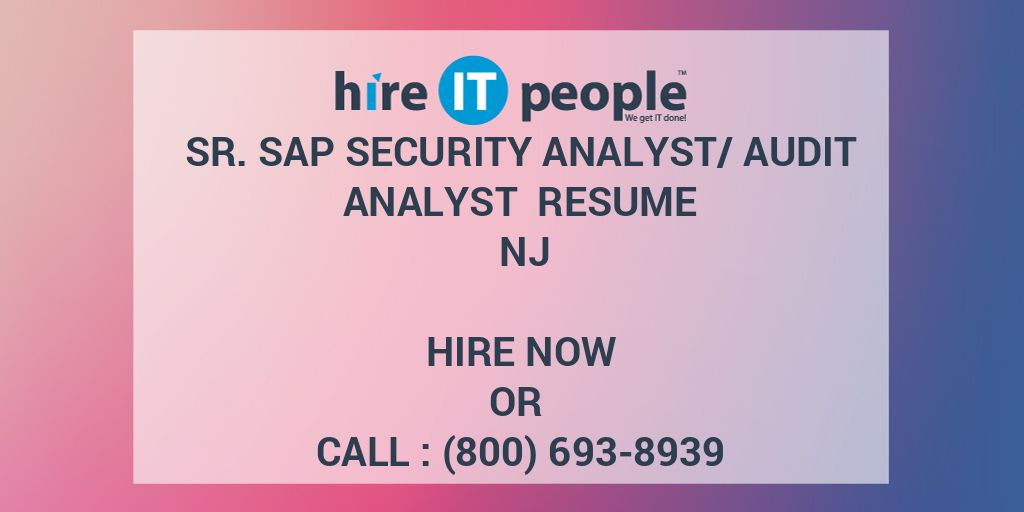 sr sap security analyst audit resume nj hire it people we get done pharmaceutical project Resume Sap Security Audit Resume