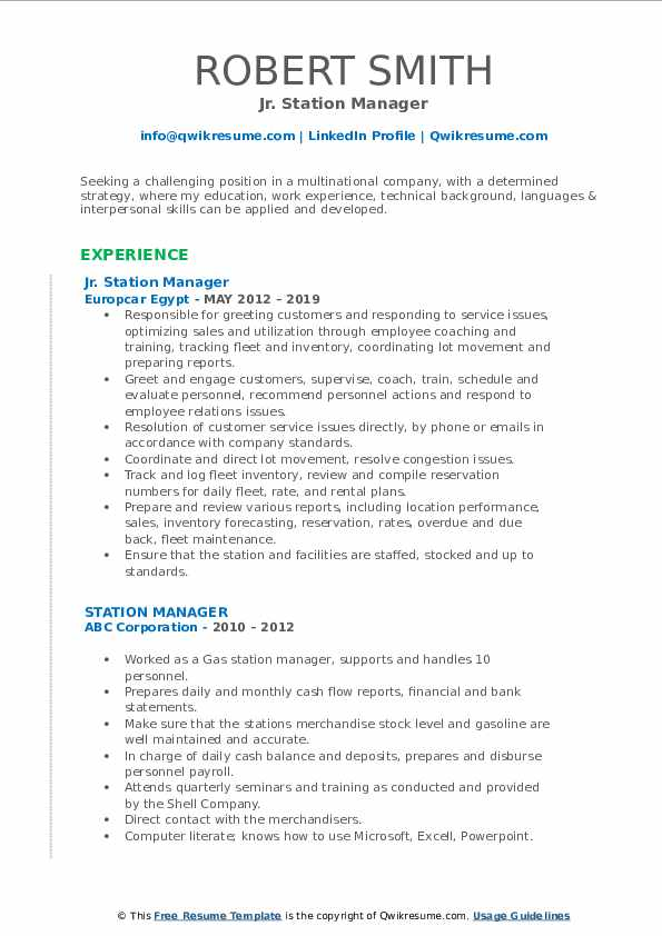 station manager resume samples qwikresume service pdf best style general summary examples Resume Service Station Manager Resume