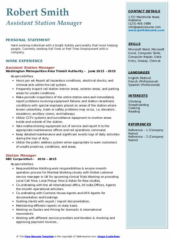 station manager resume samples qwikresume service pdf freesumes templates talent Resume Service Station Manager Resume