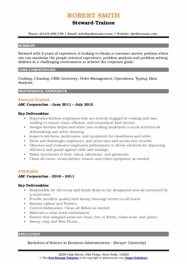 steward resume samples qwikresume format for service pdf strong words orchids Resume Resume Format For F&b Service Steward