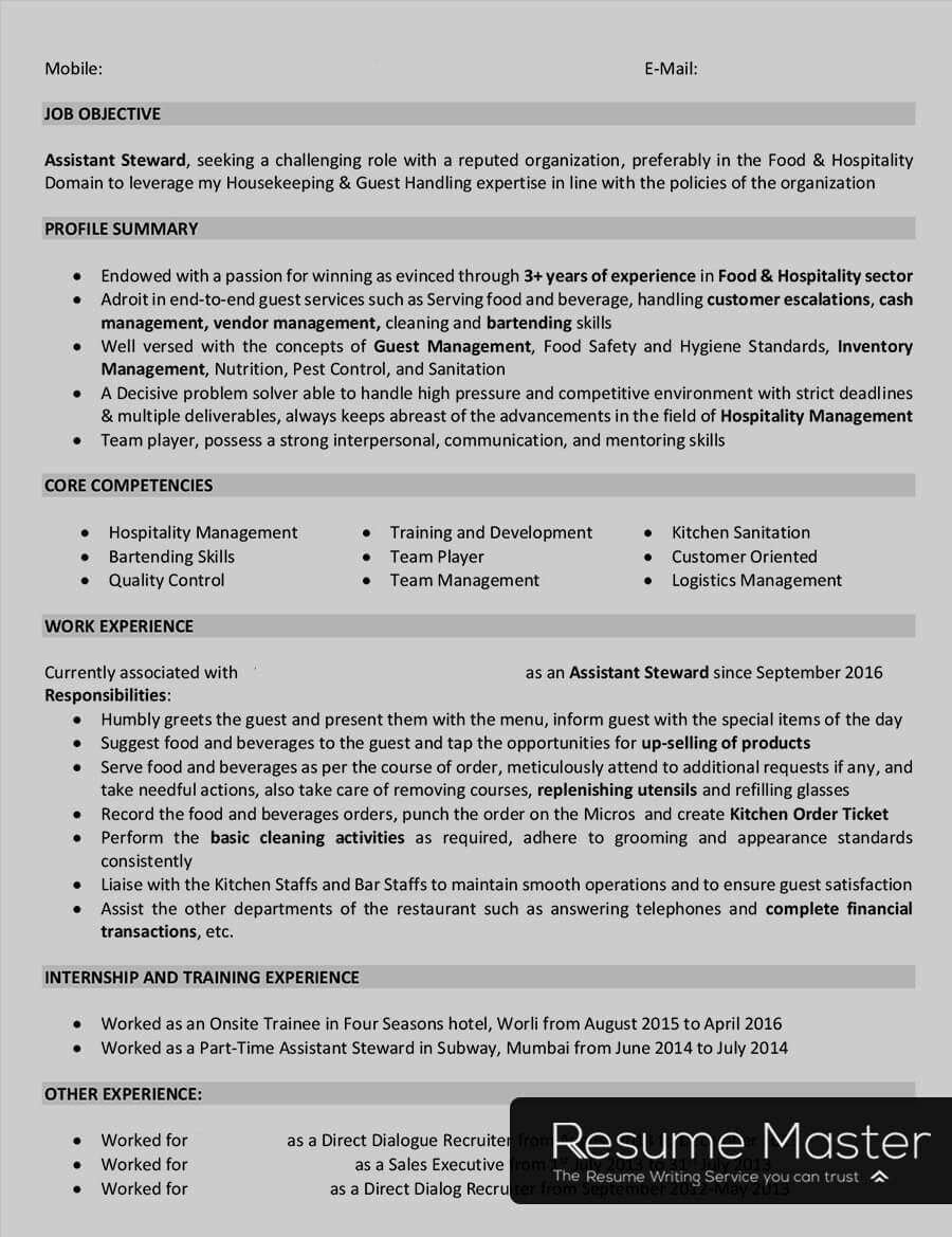 stewarding supervisor cv december resume format for service steward hospitality entry Resume Resume Format For F&b Service Steward