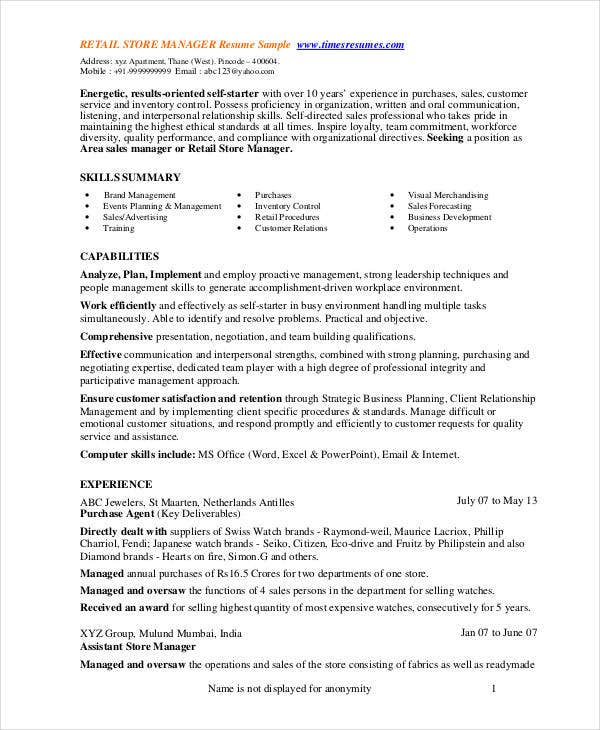 store manager resume free pdf word documents premium templates retail job duties for Resume Retail Job Duties For Resume