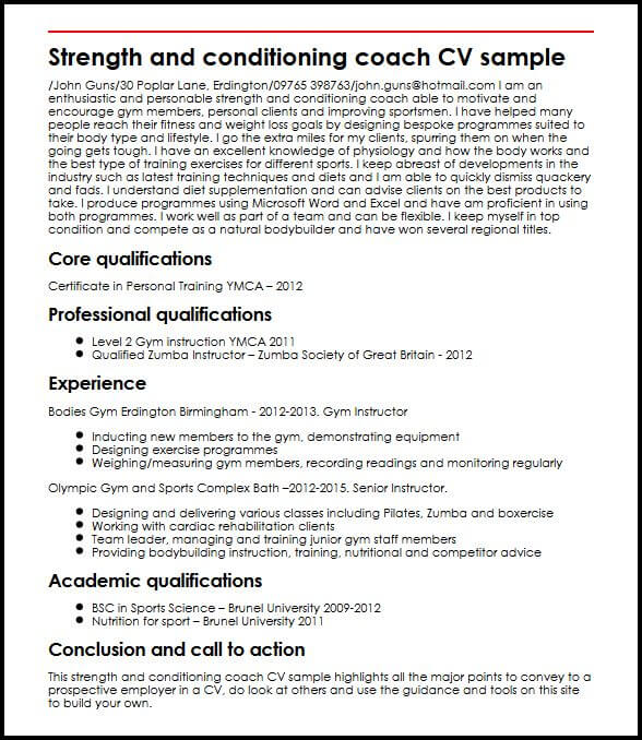 strength conditioning coach cv example myperfectcv resume skills and strengths examples Resume Resume Skills And Strengths Examples