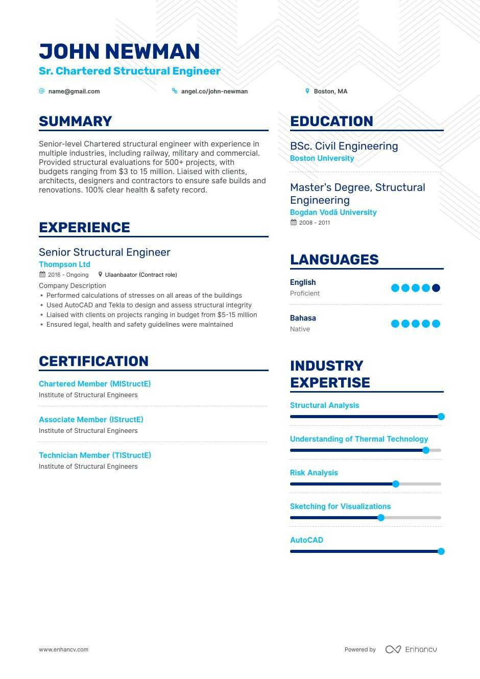 structural engineer resume examples do and don ts for enhancv steel design manager sample Resume Steel Structural Engineer Resume