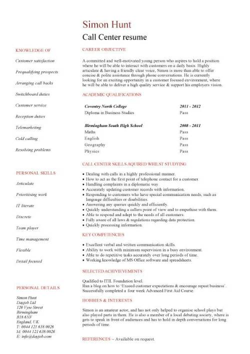 student entry level call resume template center sample pic writing powerpoint high school Resume Call Center Resume Sample