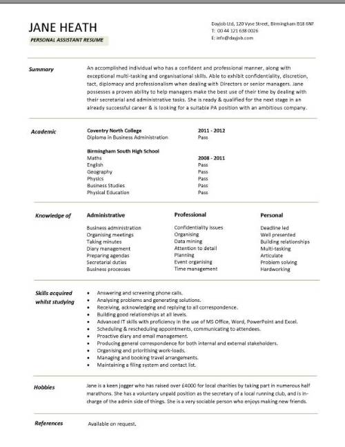 student entry level personal assistant resume template best templates for students pic Resume Best Resume Templates For Students