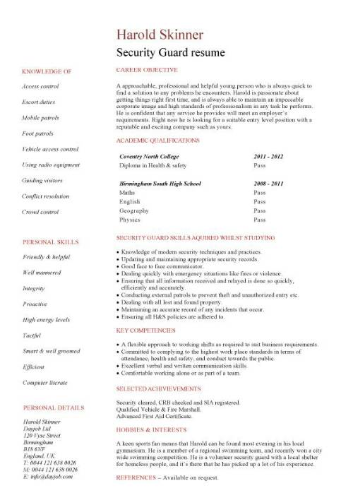 student entry level security guard resume template officer skills pic office assistant Resume Security Officer Resume Skills