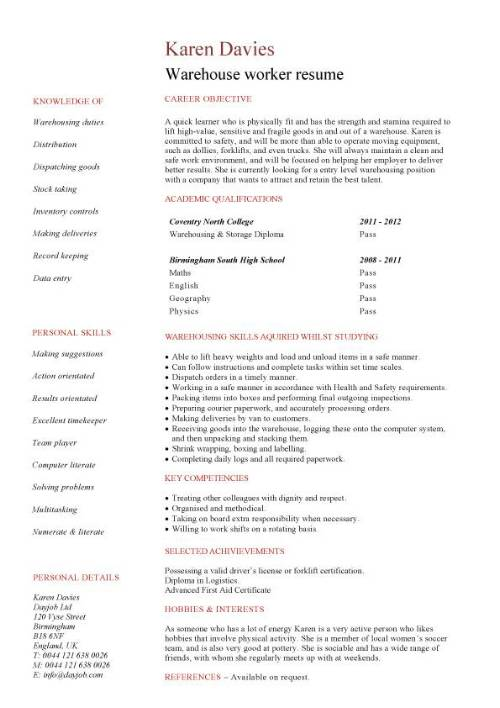 student entry level warehouse worker resume template good objective for pic culverhouse Resume Good Objective For Resume Warehouse