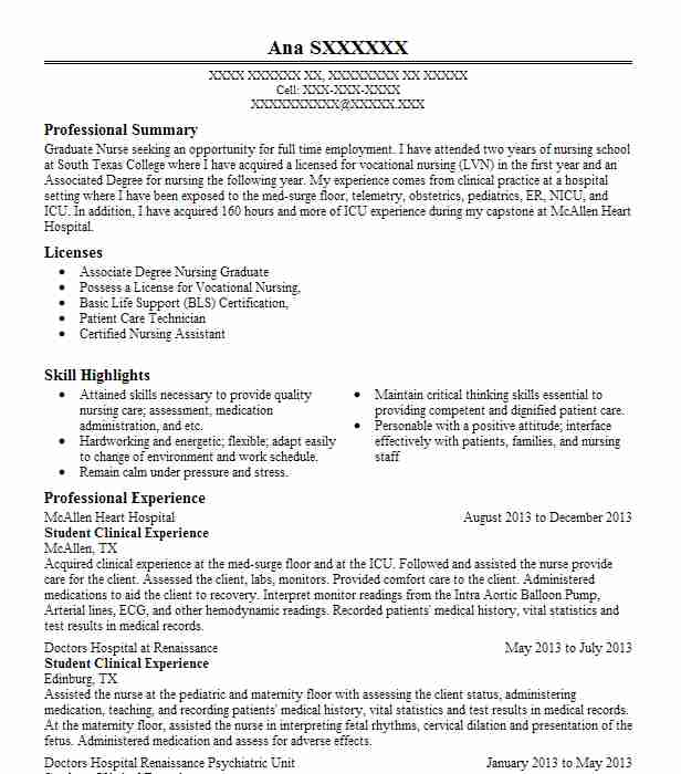student nurse clinical experience resume example jeans hospital staten new with sample Resume Resume With Clinical Experience