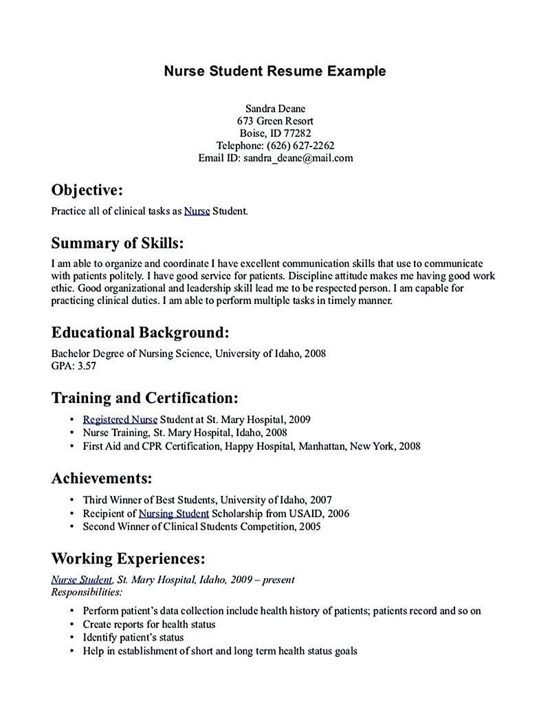 student resume examples and templates nurse nursing template first time sample for Resume First Time Student Resume