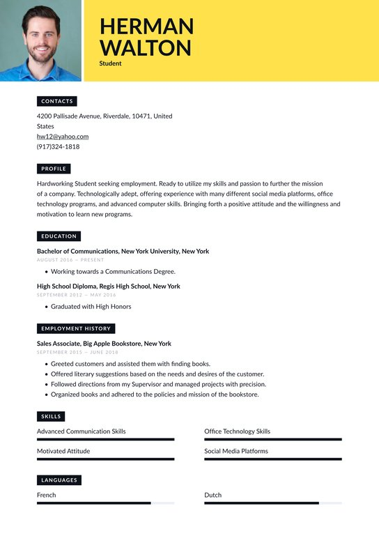 student resume examples writing tips free guide io first time demonstrated abilities Resume First Time Student Resume