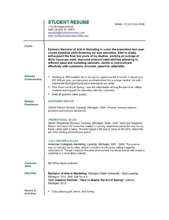 student resume templates easyjob best for students college good volunteer experience Resume Best Resume Templates For Students