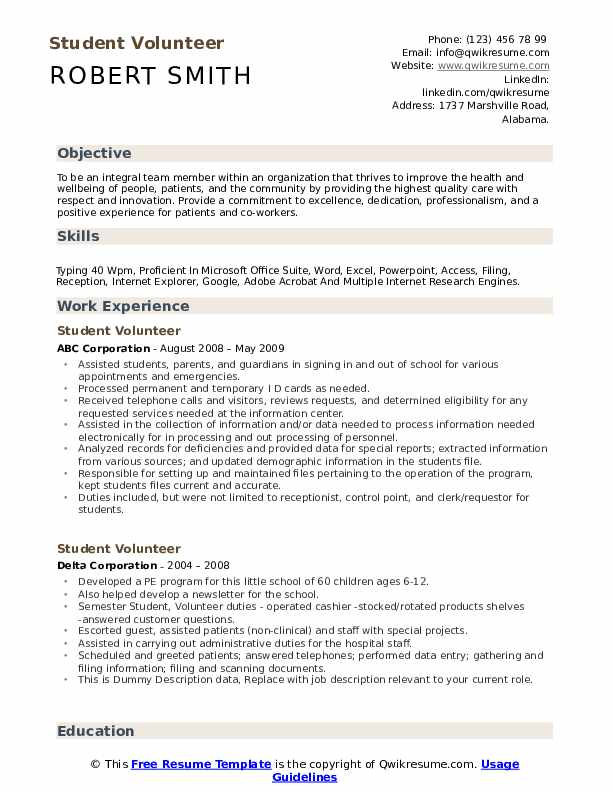 student volunteer resume samples qwikresume pdf software testing for years experience Resume Student Volunteer Resume