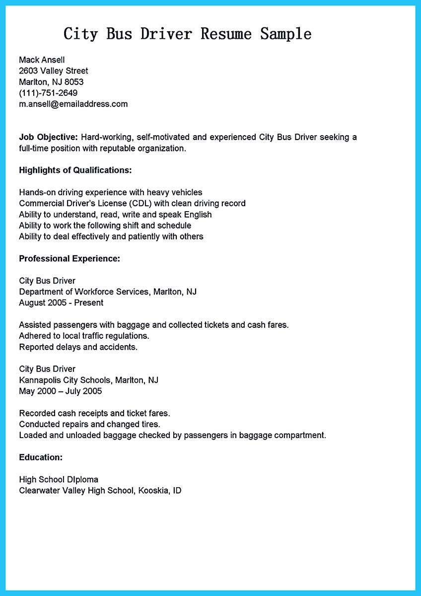 stunning bus driver resume to gain the serious job examples jobs city sample manicurist Resume City Bus Driver Resume Sample