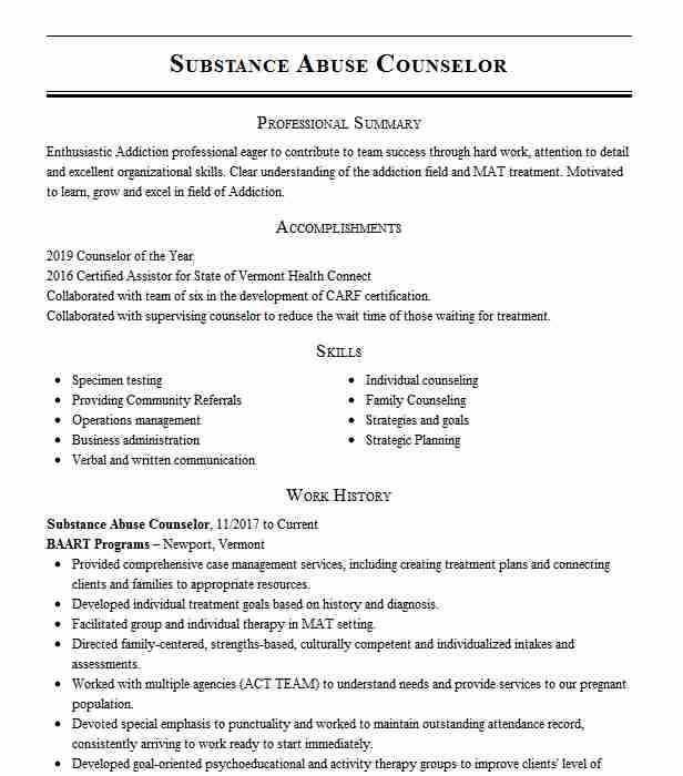 substance abuse counselor resume example livecareer templates direct care objective tips Resume Substance Abuse Counselor Resume Templates