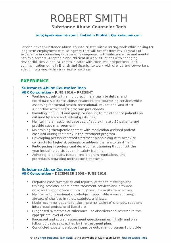 substance abuse counselor resume samples qwikresume templates pdf generalist android Resume Substance Abuse Counselor Resume Templates