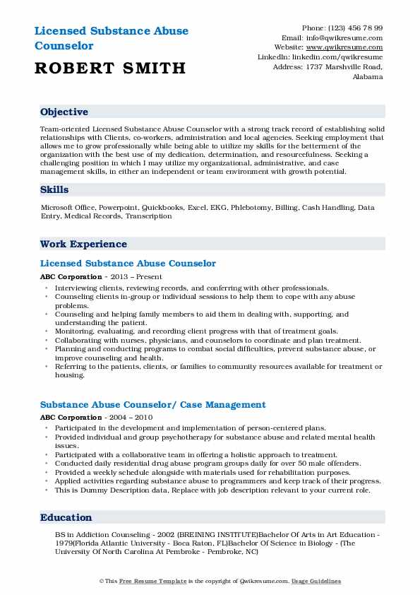 substance abuse counselor resume samples qwikresume templates pdf personal assistant job Resume Substance Abuse Counselor Resume Templates