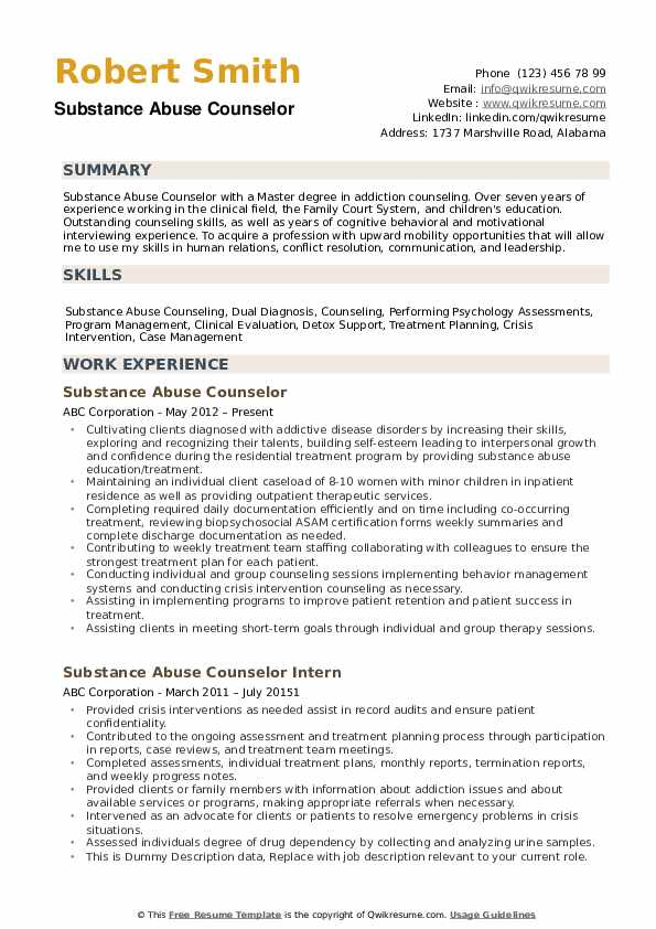 substance abuse counselor resume samples qwikresume templates pdf sample of infosys Resume Substance Abuse Counselor Resume Templates