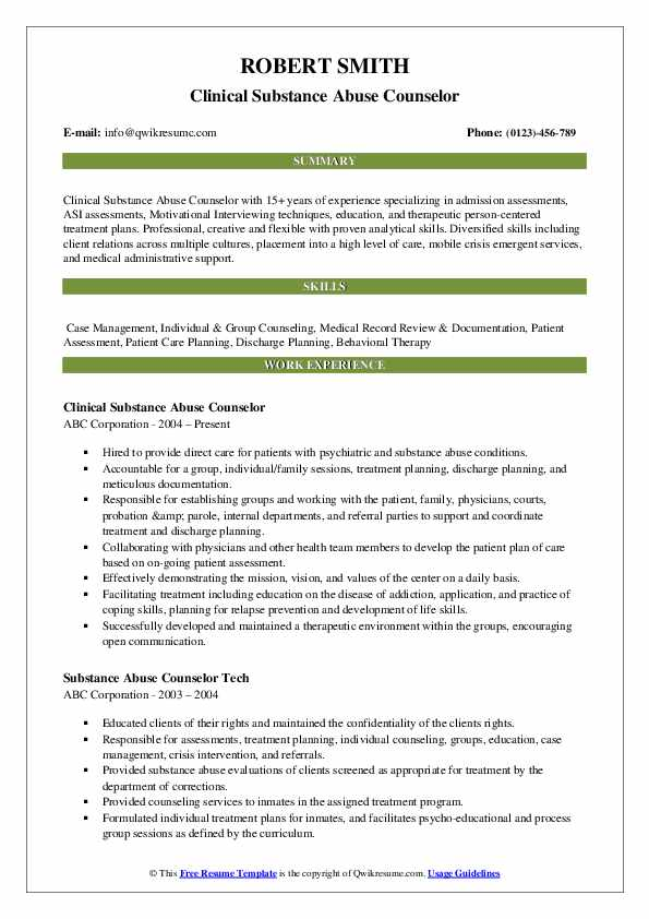 substance abuse counselor resume samples qwikresume templates pdf technical expertise Resume Substance Abuse Counselor Resume Templates