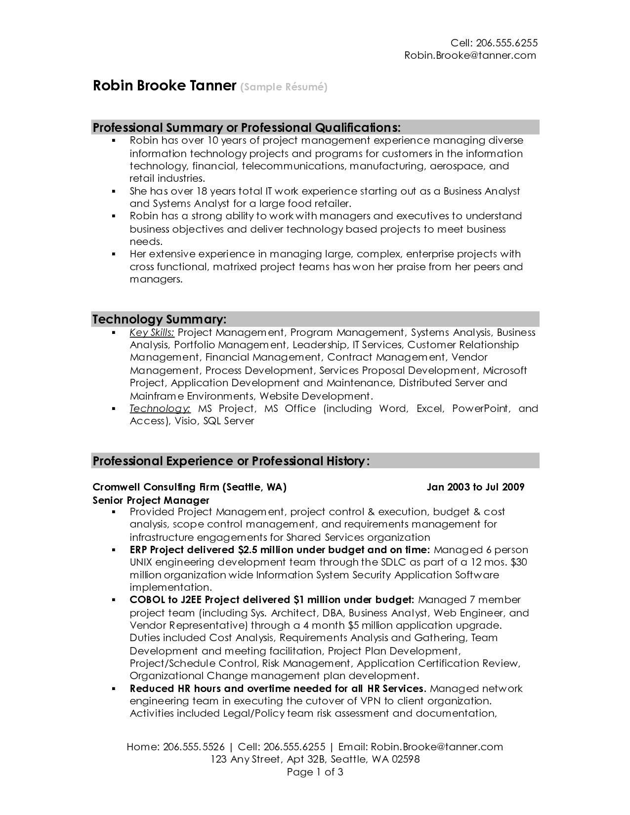 summary resume sample for examples get ideas make drop project manager professional Resume Summary Format For Resume