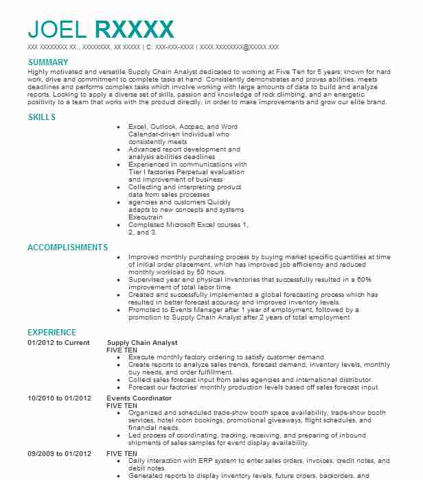 supply chain analyst resume example resumes livecareer examples student teaching on high Resume Supply Chain Resume Examples