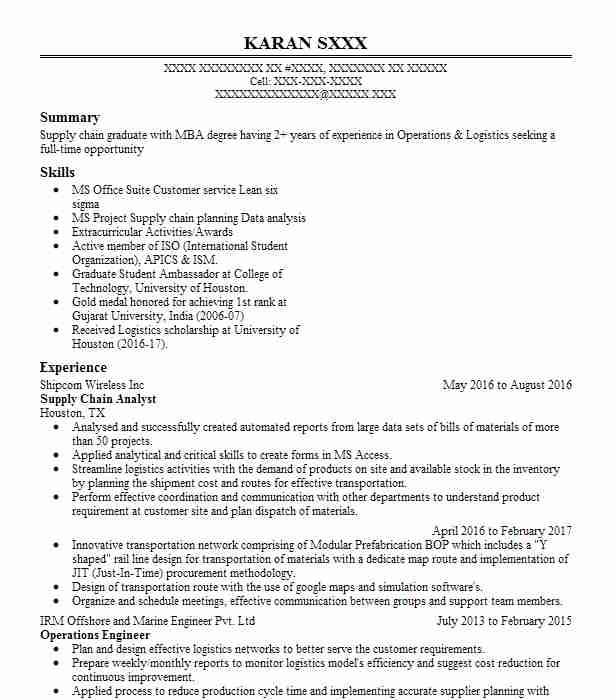 supply chain analyst resume example resumes livecareer skills for business development Resume Supply Chain Skills For Resume