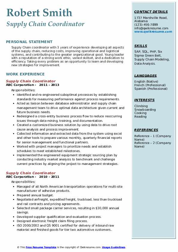 supply chain coordinator resume samples qwikresume examples pdf sample shadowing export Resume Supply Chain Resume Examples
