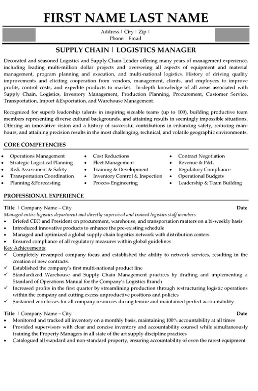 supply chain professional resume sample template examples student logistics management Resume Supply Chain Resume Examples