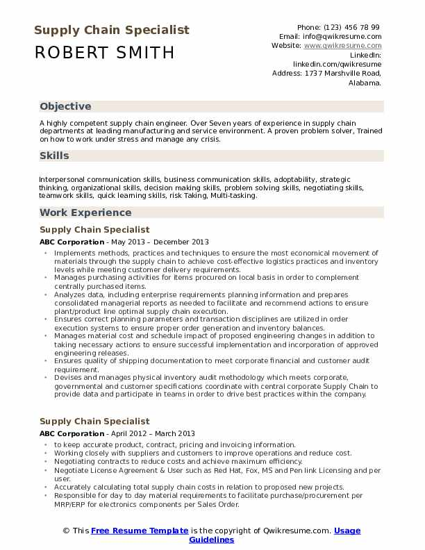 supply chain specialist resume samples qwikresume skills for pdf career profile on Resume Supply Chain Skills For Resume