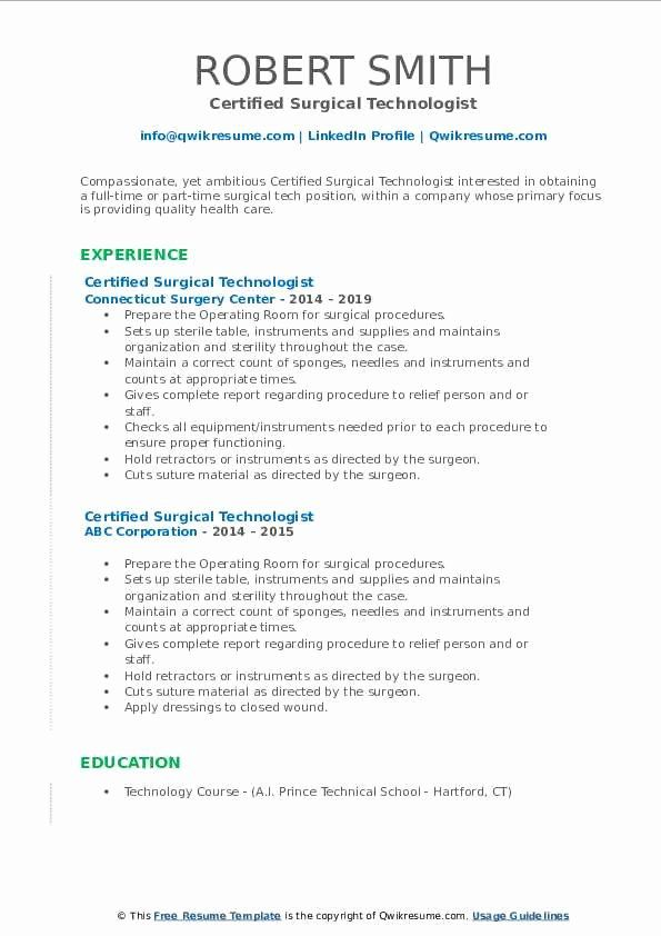 surgical tech resume example fresh certified technologist samples job examples technician Resume Certified Surgical Technologist Resume Samples