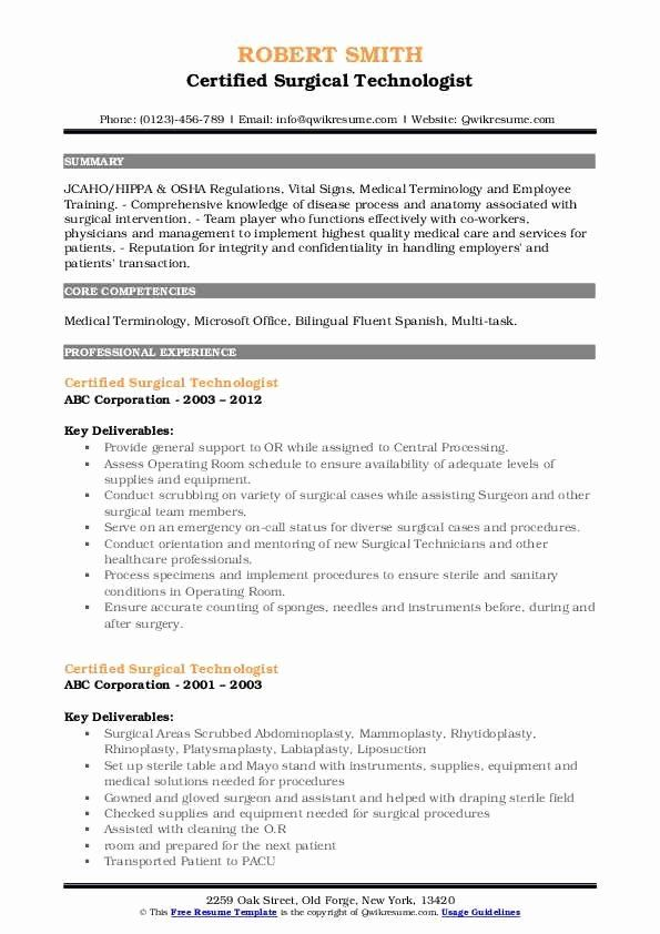 surgical tech resume examples beautiful certified technologist samples in manager Resume Certified Surgical Technologist Resume Samples