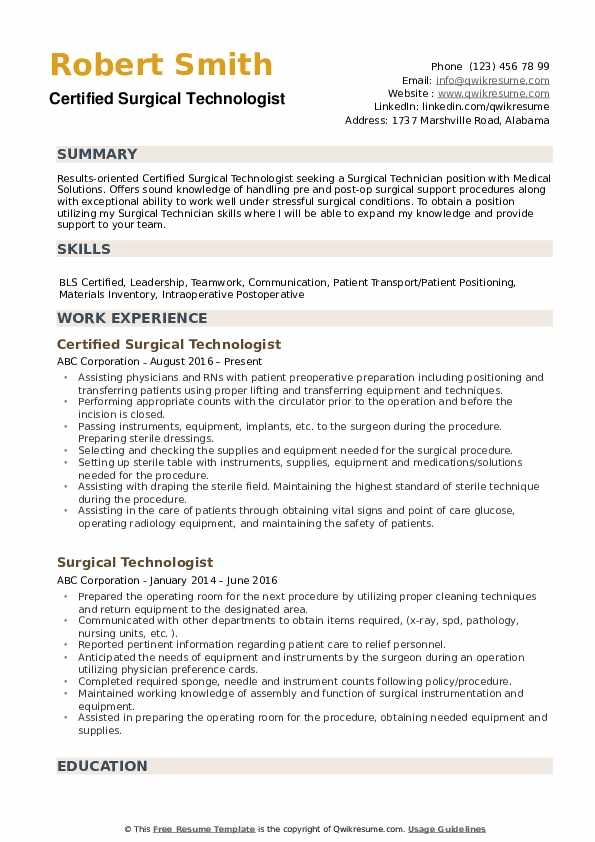 surgical technologist resume samples qwikresume certified pdf grad school template police Resume Certified Surgical Technologist Resume Samples