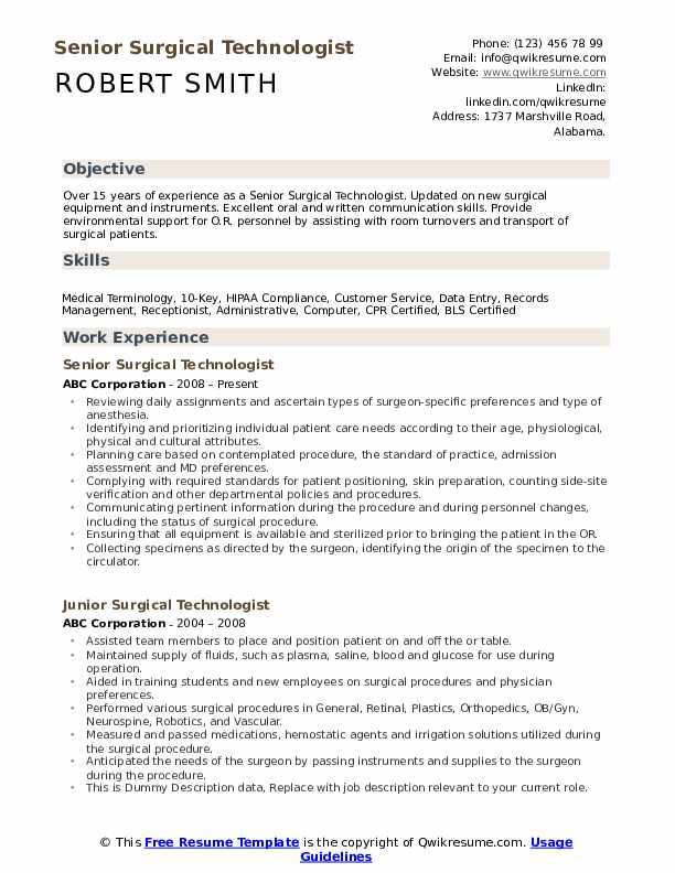 surgical technologist resume samples qwikresume certified pdf sample for computer Resume Certified Surgical Technologist Resume Samples
