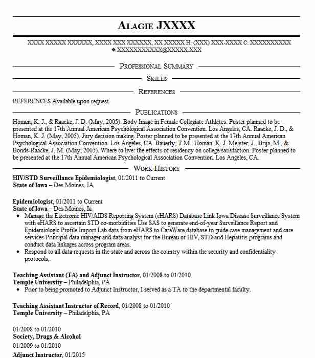 surveillance epidemiologist resume example department of health in county epidemiology Resume Epidemiology Resume Sample