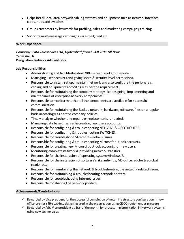 system administrator resume format sample for experienced examples ironworker does your Resume Sample Resume For Experienced System Administrator
