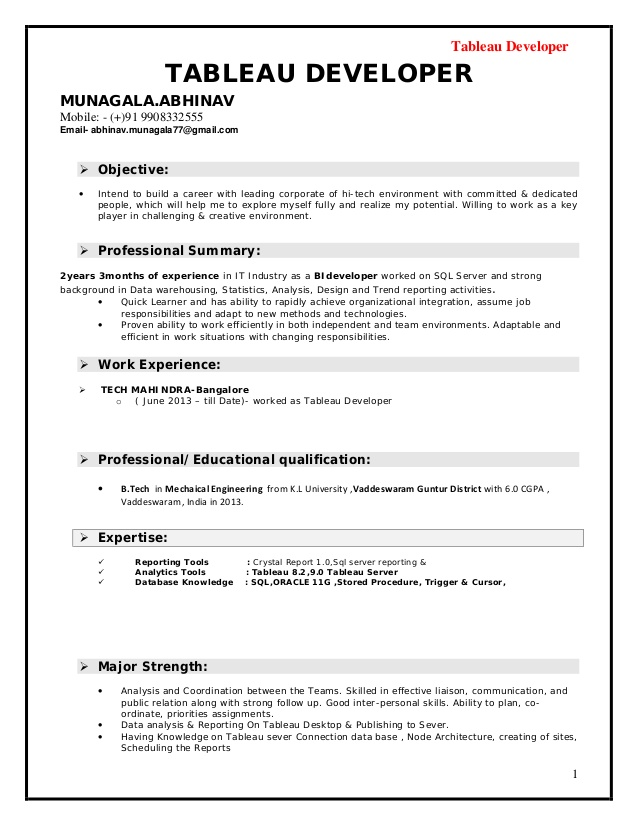 tableau developer resume for experienced sample software engineer with years experience Resume Tableau Resume For Experienced
