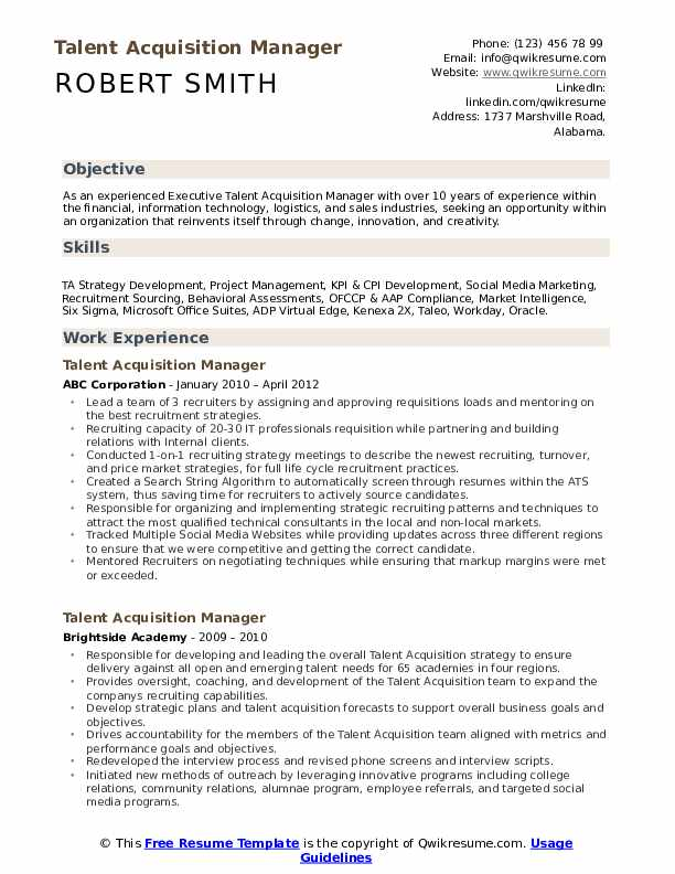 talent acquisition manager resume samples qwikresume workday integration pdf auto parts Resume Workday Integration Resume