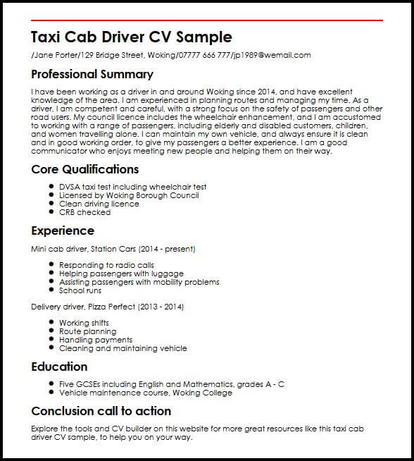 taxi driver cv example myperfectcv route resume sample boss entry level skills microsoft Resume Route Driver Resume Sample