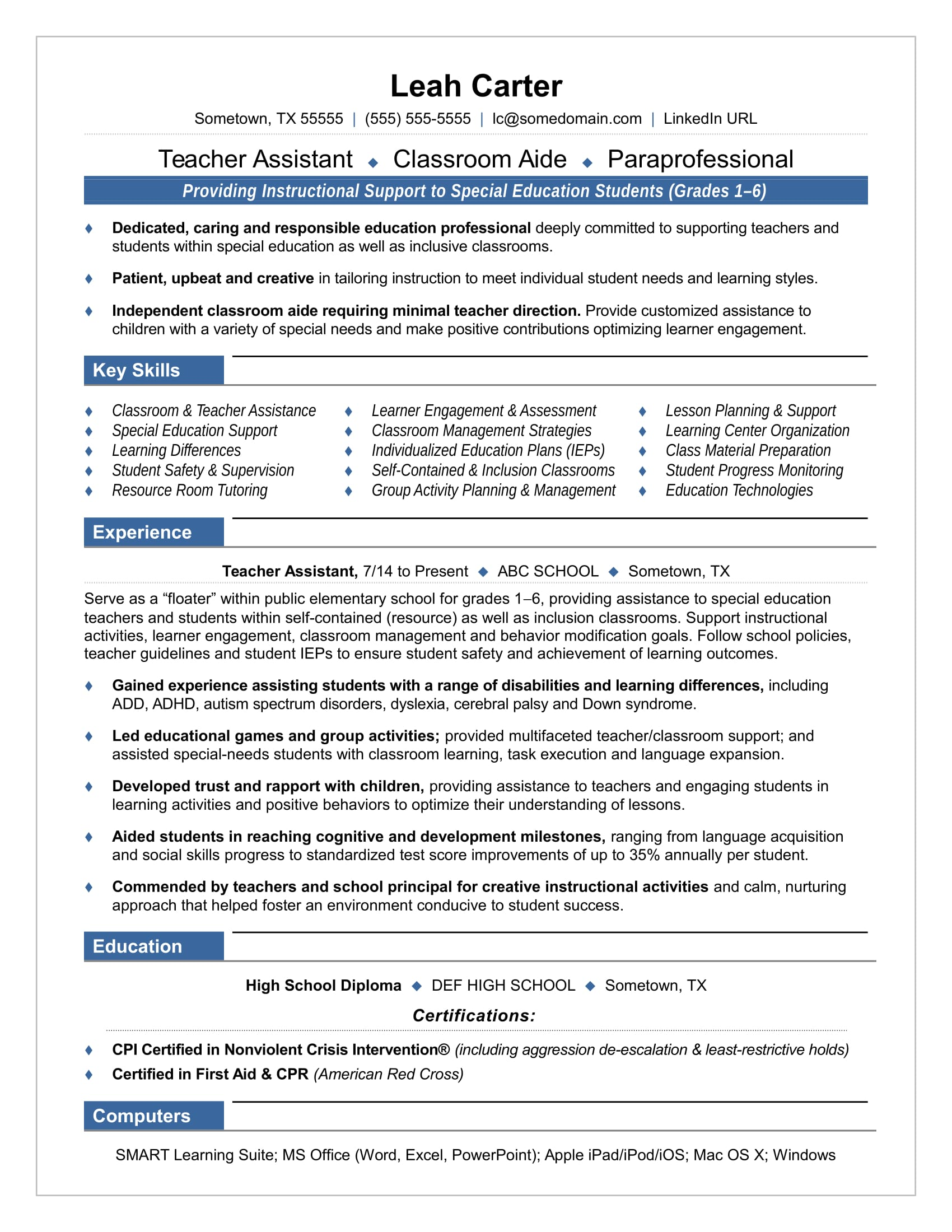 teacher assistant resume sample monster special education paraprofessional Resume Special Education Paraprofessional Resume