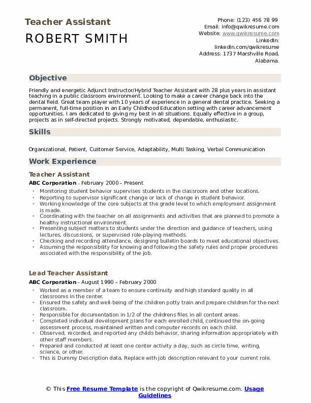 teacher assistant resume samples qwikresume objective pdf canva for fresher heavy Resume Teacher Assistant Resume Objective