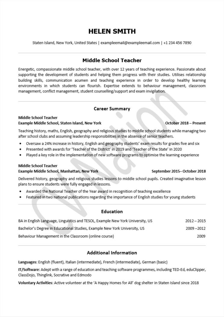 teacher cv examples with writing guide for teachers nation classroom volunteer resume Resume Classroom Volunteer Resume