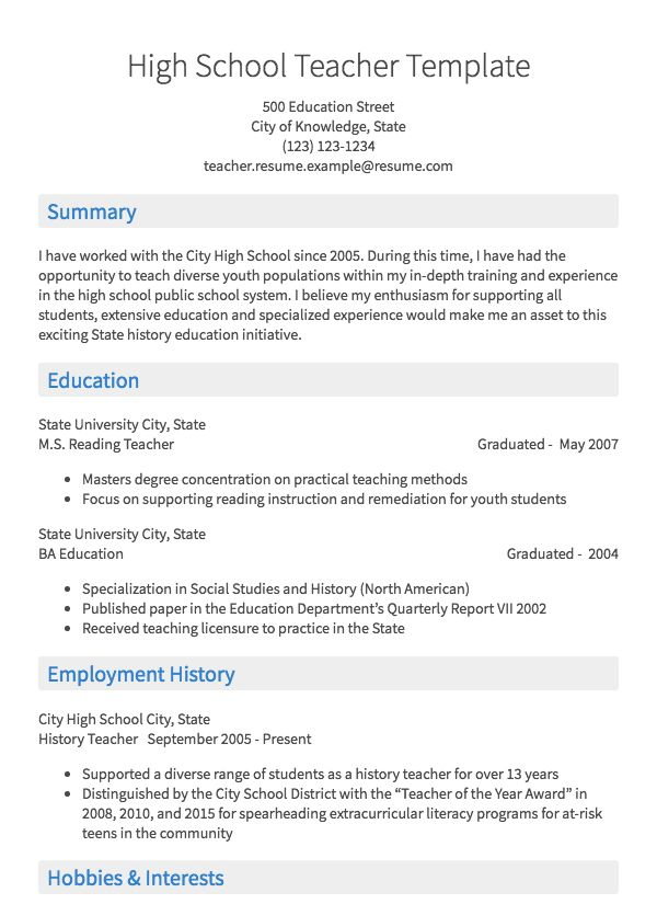 teacher resume samples all experience levels teaching examples high school writing Resume Teaching Resume Examples High School