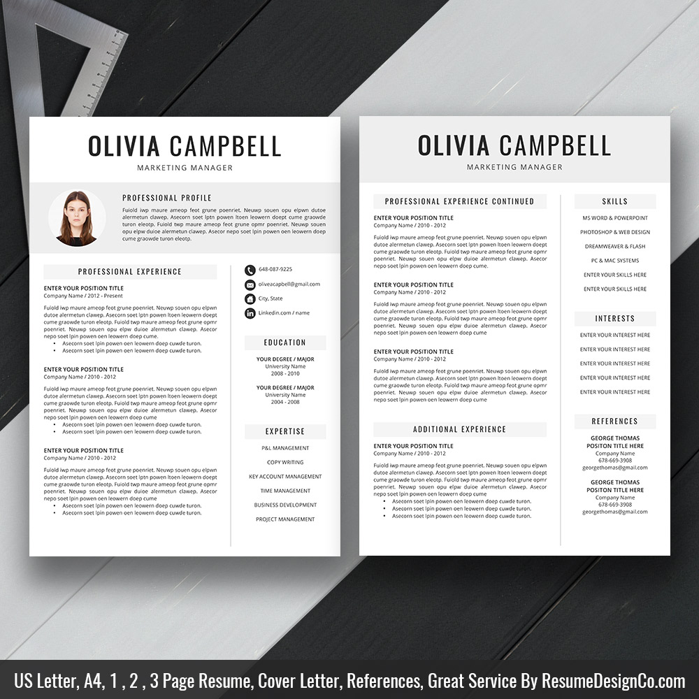 teacher resume template ms word simple and modern design professional cv cover letter Resume Two Page Resume Template Word